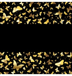 background with golden butterflies vector image
