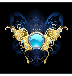 Banner with Gold Wings of a Butterfly vector image