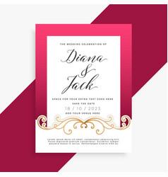 beautiful floral wedding card design vector image