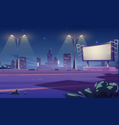 blank large billboard on street in town at night vector image