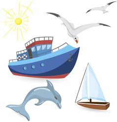 Boats dolphin seagulls vector