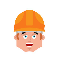 builder happy emotion avatar worker in protective vector image