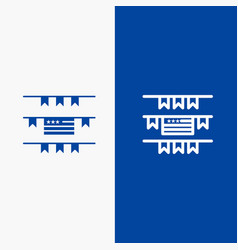 buntings party decoration american line and glyph vector image