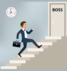 Businessman running to boss office vector