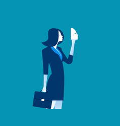 Businesswoman holding mask in front concept vector