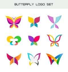 Butterfly colorful logo set vivid colors vector