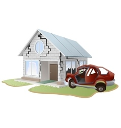 Car crash Car crashed into wall at home Property vector