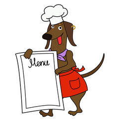 Cartoon dachshund chef with a menu vector