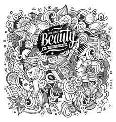 Cartoon doodles cosmetics frame design vector