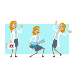 cartoon flat funny doctor woman character set vector image