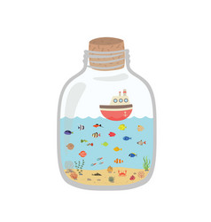 cartoon underwater world in a bottle exotic sea vector image