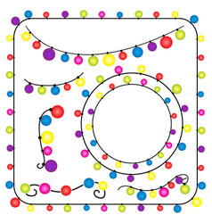 christmas lights and new year party on white vector image