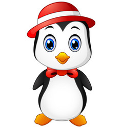 christmas penguin in a cap and a bow tie vector image