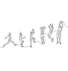 continuous line basketball player step step vector image