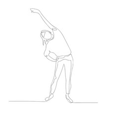 Continuous one line woman doing warm-up stretching vector