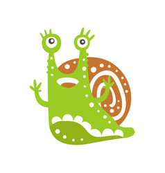 cute snail character with its hands up funny vector image