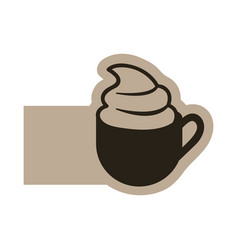dark contour cup coffee with cream icon vector image