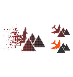 Destructed pixel halftone piramides airplane crash vector