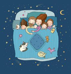 Family sleep in bed cartoon mom dad vector