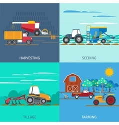 Farming machines icons set vector