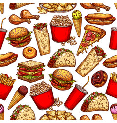 fast food snacks desserts seamless sketch pattern vector image