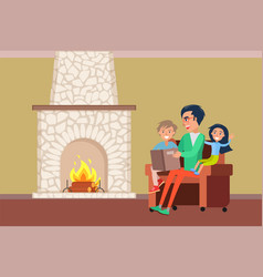 Father and children spending time by fireplace vector