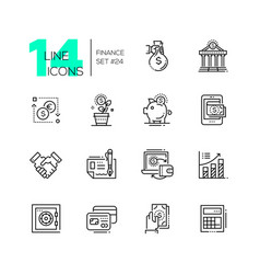 finance - modern single line icons set vector image