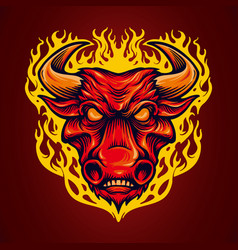 fire head red bulls mascot vector image