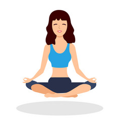 Fitness girl does yoga training vector