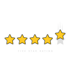 five yellow rating star vector image