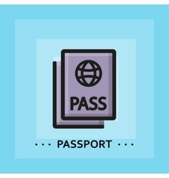 Flat passport icon vector