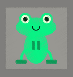 Flat shading style icon cute frog cartoon vector