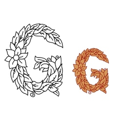Floral alphabet letter G with leaves vector image vector image