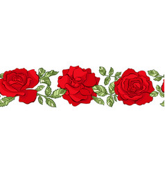 floral seamless border red roses vector image