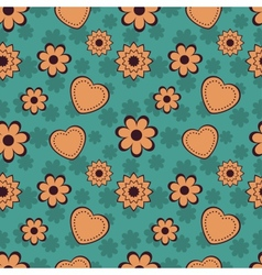 Flowers and Hearts Seamless Pattern vector image