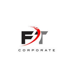 Ft modern letter logo design with swoosh vector