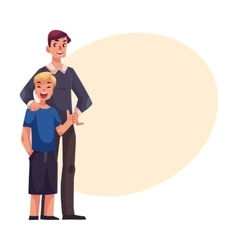 Full length portrait of happy father and son vector image
