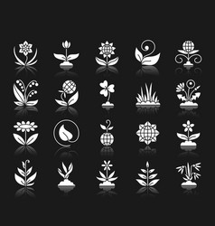 garden white silhouette icons set vector image