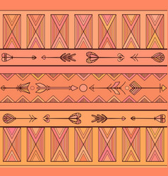 geometric seamless boho pattern with arrows vector image