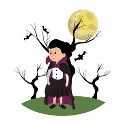 Girl with vampire costume and trees branches vector
