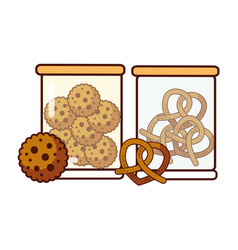 glass jars with cookies and pretzels food dessert vector image