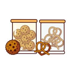 Glass jars with cookies and pretzels food dessert vector