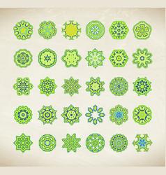 Green mandala set vector