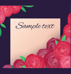 greeting card with pink roses and place for text vector image