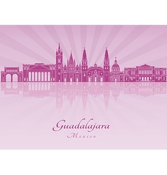 Guadalajara skyline in purple radiant orchid vector