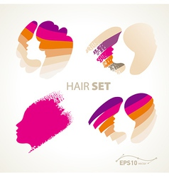 Hair emblem sign set vector
