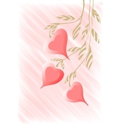 Hand drawing twig with hearts background vector