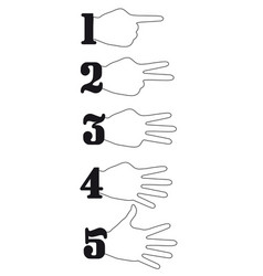 hand numbers counting flat design vector image