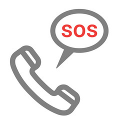 handset with sos icon rescue services phone call vector image