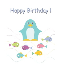 Happy birthday card with penguin vector